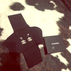 CHANEL Baguette Crystal CC Drop Earrings in Silver